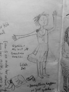 The image above is a sketch from the conference and the first appearance of the character currently growing in my head- she's had five names in six weeks. Image copyright 2016 Marika McCoola.